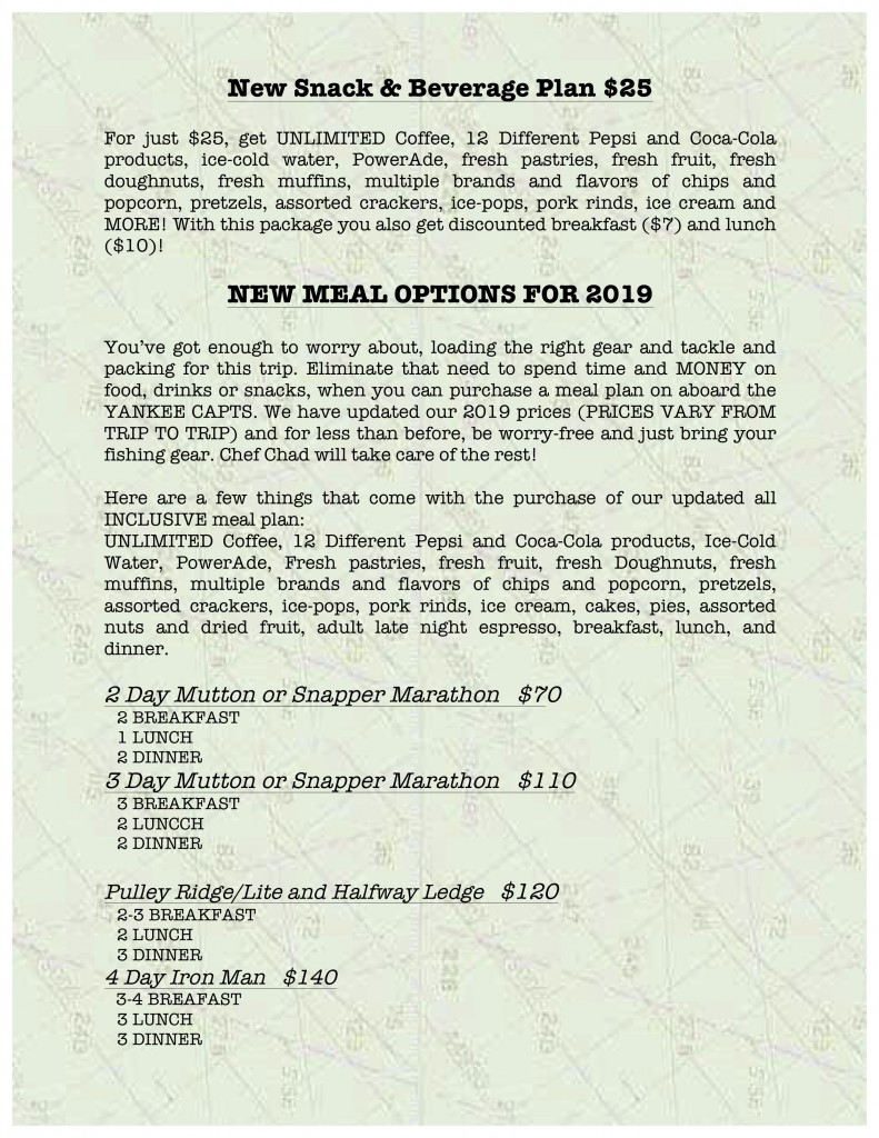 5 yankee capts 2019 galley menu